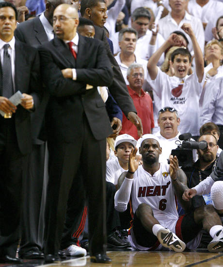Miami's LeBron James reacts as he watches a free throw in the final seconds  of Game 4 of the NBA Finals between the Oklahoma City Thunder and the Miami Heat at American Airlines Arena, Tuesday, June 19, 2012. Oklahoma City lost 104-98.  Photo by Bryan Terry, The Oklahoman