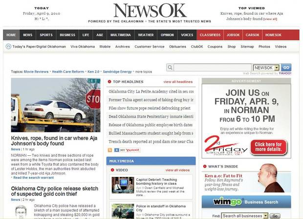 NewsOK.com, seen above, won best Web site in the 2009 Carl Rogan Awards. The  Oklahoman&amp;#8217;s Nolan Clay won the Sweepstakes award and Amy  Raymond won first place for Page One Deadline Layout for the &amp;quot;Dying Too Young&amp;#8221; series, seen at right.