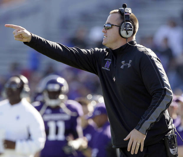 Northwestern coach Pat Fitzgerald is playing music in team meetings to help prepare players for their trip to Penn State this weekend. AP PHOTO
