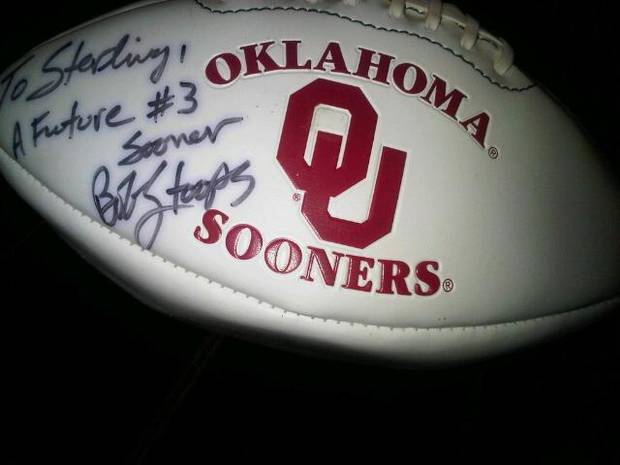 Bob Stoops signed this football for 6-year old Sterling Shepard in 1999. Today, Shepard does indeed wear No. 3 for Oklahoma. PHOTO PROVIDED