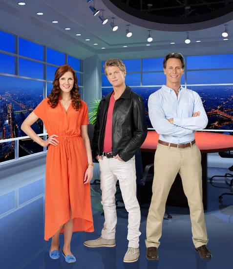 From left, Michelle Harrison, Andrew Francis and Steven Weber star in the Hallmark Channel Original Movie &quot;Tom Dick &amp; Harriet&quot;