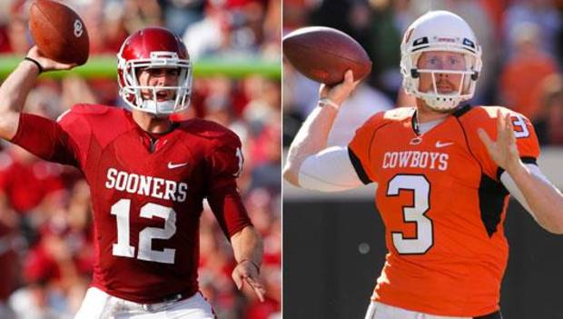 Oklahoma's Landry Jones and Oklahoma State's Brandon Weeden