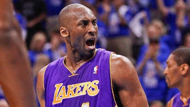 Los Angeles Lakers guard Kobe Bryant reacts to an official's call in the first quarter of Game 1 against the Oklahoma City Thunder in the second round of the NBA basketball playoffs, in Oklahoma City, Monday, May 14, 2012. (AP Photo/Sue Ogrocki)