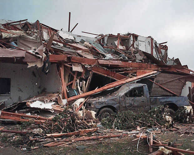 May 3, 1999, Oklahoma City Tornado:  Tornado damage: Emerald Springs Apartments, 12500 S Western in Moore across from Westmoore High School, 2nd story gone and pickup buried.  Staff Photo by Paul B. Southerland