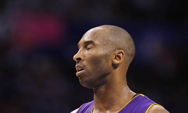 Los Angeles' Kobe Bryant reacts after a turnover by the Lakers during Game 2 in the second round of the NBA playoffs between the Oklahoma City Thunder and the L.A. Lakers at Chesapeake Energy Arena on Wednesday,  May 16, 2012, in Oklahoma City, Oklahoma. Photo by Chris Landsberger, The Oklahoman