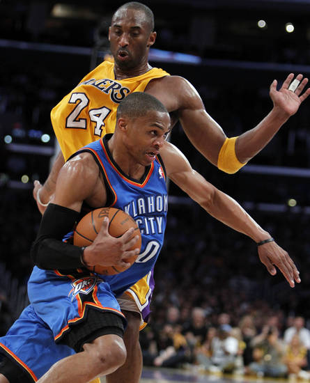 Oklahoma City Thunder Los Angeles Lakers during the second half of an NBA basketball game, Monday, Jan. 17, 2011, in Los Angeles. Lakers won the game 101-94.  (AP Photo/Alex Gallardo)