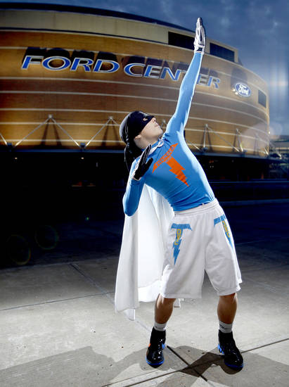 Thunder super fan &quot;Thuner Man&quot; poses for a portrait outside the Ford Center in Oklahoma City, Thursday, Feb. 12, 2009. PHOTO BY BRYAN TERRY, THE OKLAHOMAN
