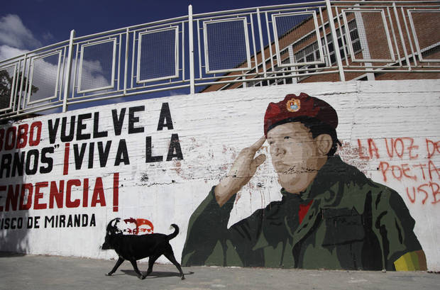 A dog walks past a mural of Venezuela President Hugo Chavez in Caracas, Venezuela, Monday, Dec. 31, 2012.  Chavez is confronting &quot;new complications&quot; due to a respiratory infection nearly three weeks after undergoing cancer surgery, his Vice President Nicolas Maduro said Sunday evening in Cuba as he visited the ailing leader for the first time since his operation. (AP Photo/Ariana Cubillos)