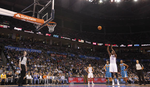 Oklahoma City Thunder small forward Kevin Durant (35) shoots a technical during the NBA basketball game between the Oklahoma City Thunder and the New Orleans Hornets at the Chesapeake Energy Arena on Wednesday, Jan. 25, 2012, in Oklahoma City, Okla. Photo by Chris Landsberger, The Oklahoman