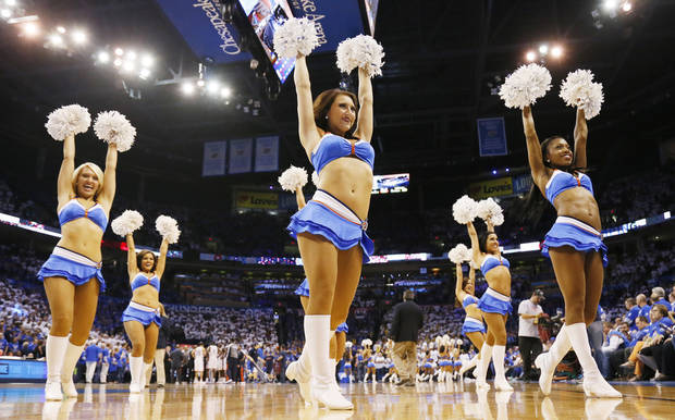 The Thunder Girls dance team performs during Game 2 in the first round of the NBA playoffs between the Oklahoma City Thunder and the Houston Rockets at Chesapeake Energy Arena in Oklahoma City, Wednesday, April 24, 2013. Oklahoma City won, 105-102. Photo by Nate Billings, The Oklahoman