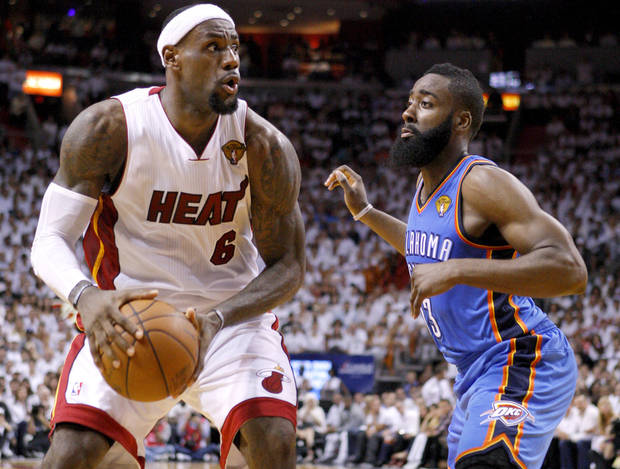 Miami's LeBron James (6) looks to get past Oklahoma City's James Harden (13) during Game 4 of the NBA Finals between the Oklahoma City Thunder and the Miami Heat at American Airlines Arena, Tuesday, June 19, 2012. Photo by Bryan Terry, The Oklahoman