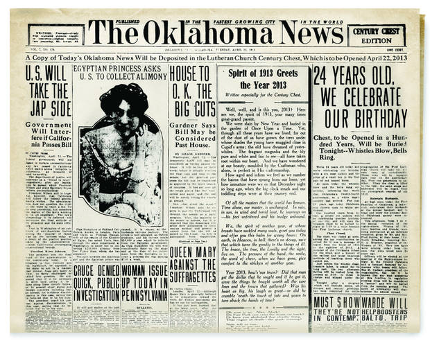 Above: A hundred years ago, The  Oklahoma News told of how Oklahomans in 2013 would open the  Century Chest.