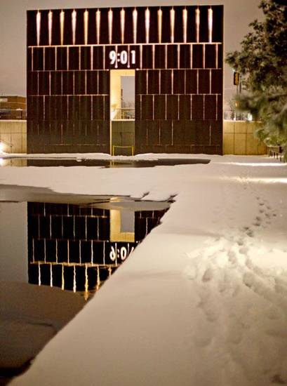 Snow covers the ground at the Oklahoma City National Memorial in Oklahoma City, Friday, Jan. 29, 2010.  Photo by Bryan Terry, The Oklahoman