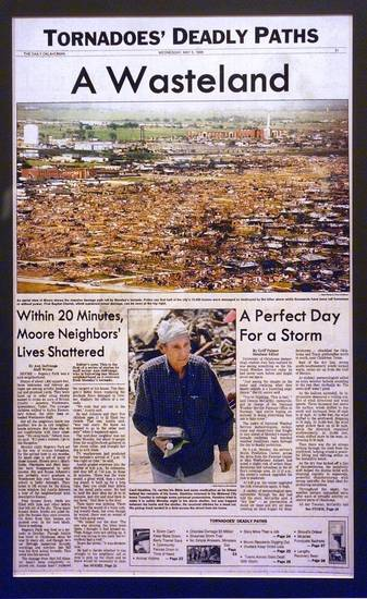 MAY 3 TORNADO FRONT PAGE: This a copy of the cover of The Daily Oklahoman special section published on the May 5, 1999 about the May 3rd tornadoes. It was copied from the wall of pages on the 9th floor.