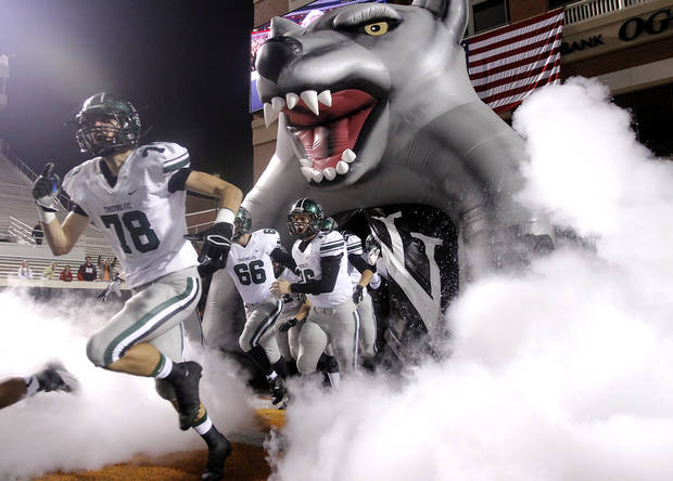 Norman North takes to the field during the Class 6A Oklahoma state championship football game between Norman North High School and Jenks High School at Boone Pickens Stadium on Friday, Nov. 30, 2012, in Stillwater, Okla.   Photo by Chris Landsberger, The Oklahoman