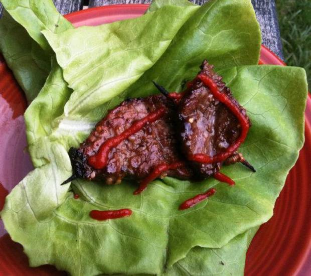 Bulgogi mini kebabs on a bed of butter lettuce make an instant tailgate lettuce wrap. Photo by Dave Cathey, The Oklahoman <strong></strong>