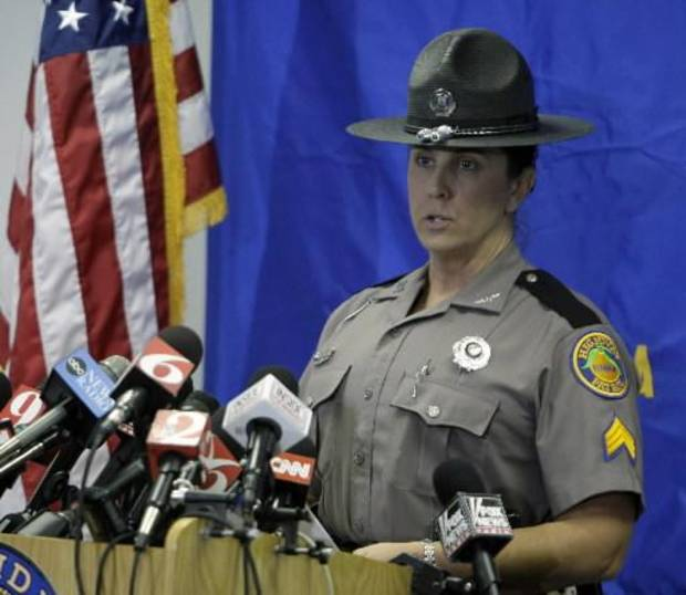 Sgt. Kim Montes, a spokeswoman with the Florida Highway Patrol, spoke during a press conference regarding Tiger Woods. (AP Photo/John Raoux)