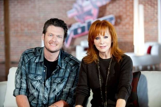 "Oklahoma country music stars Blake Shelton and Reba McEntire appear on the set of his NBC reality TV series ""The Voice."" The pair will host Wednesday and Thursday concerts to raise money for tornado relief in Atoka County. (NBC photo)"