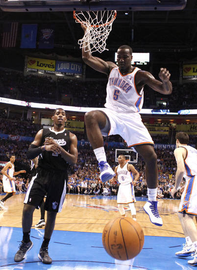 during the NBA basketball game between the Oklahoma City Thunder and the Sacramanento Kings at Chesapeake Energy Arena in Oklahoma City, Tuesday, April 24, 2012. Photo by Sarah Phipps, The Oklahoman.