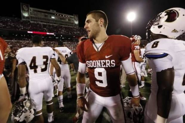 Oklahoma quarterback Trevor Knight leaves the field after the Sooners' 34-0 win over Louisiana-Monroe on Saturday. PHOTO BY STEVE SISNEY, THE OKLAHOMAN