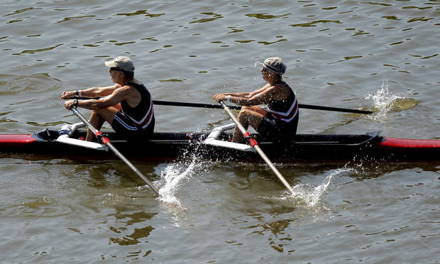 Members of the Chester River rowing club compete in the Mixed H-J 2x final during the USRowing Masters National Championships on the Oklahoma River, Sunday, Aug. 14, 2011. Photo by Sarah Phipps, The Oklahoman