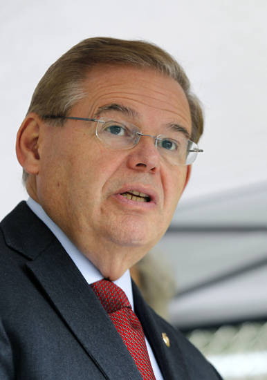 FILE In a file photo made Thursday, Sept. 27, 2012, U.S. Sen. Robert Menendez, D-NJ, speaks in Sayreville, N.J. On Wednesday, Oct. 10, 2012, New Jersey's two major-party U.S. Senate candidates are set to meet in a debate. Menendez and Republican state Sen. Joe Kyrillos are scheduled to answer questions on radio station New Jersey 101.5 FM at 7 p.m. Wednesday. (AP Photo/Mel Evans,file)