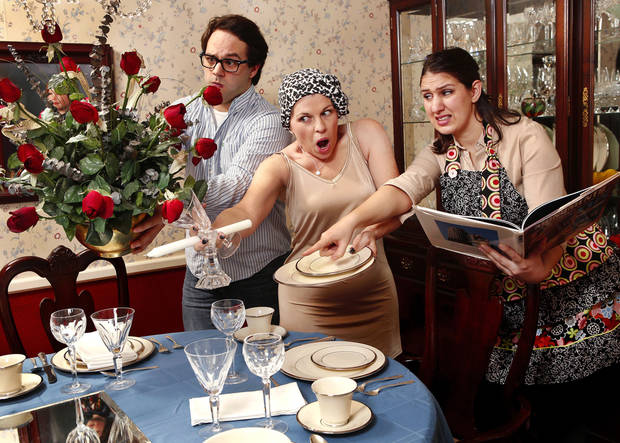 From left, Dalton Thomas, Christine Jolly and Tiffany Tuggle-Rogers are in the Jewel Box Theatre�s production of �Dilemmas With Dinner.�  Photo by Jim Beckel, THE OKLAHOMAN