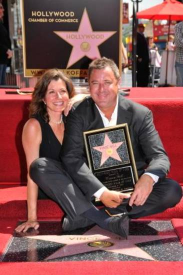 Vince Gill and Amy Grant are all smiles as he gets his star on the Hollywood Walk of Fame Thursday. Photo courtesy Hollywood Chamber of Commerce/Bob Freeman