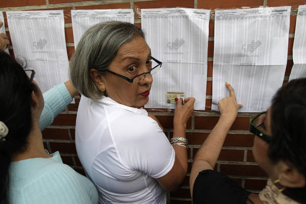 Residents look for their names on voter lists at a polling station during the presidential election in Caracas, Venezuela, Sunday, Oct. 7, 2012. President Hugo Chavez is running for re-election against opposition candidate Henrique Capriles. (AP Photo/Enric Marti)