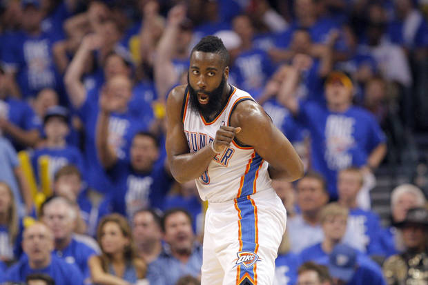 Oklahoma City's James Harden (13) reacts to a play during Game 1 in the second round of the NBA playoffs between the Oklahoma City Thunder and the L.A. Lakers at Chesapeake Energy Arena in Oklahoma City, Monday, May 14, 2012. Photo by Sarah Phipps, The Oklahoman
