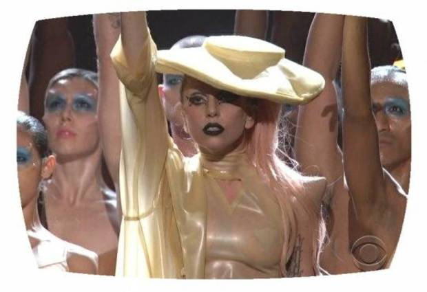 "Lady Gaga performs ""Born This Way"" at the 2011 Grammy Awards."