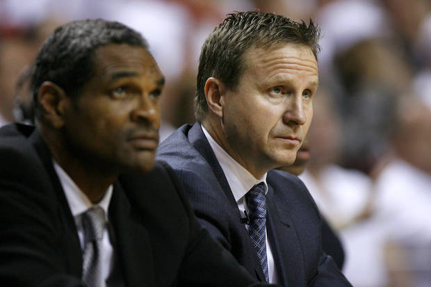 Oklahoma City coach Scott Brooks watches during Game 4 of the NBA Finals between the Oklahoma City Thunder and the Miami Heat at American Airlines Arena, Tuesday, June 19, 2012. Photo by Bryan Terry, The Oklahoman
