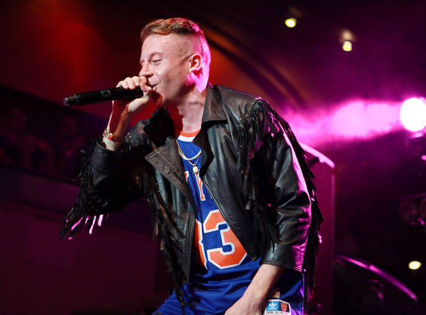 This Monday May 20, 2013 photo released by Bacardi shows Ben Haggerty, better known as Macklemore of Macklemore and Ryan Lewis peforming during the Rolling Stone hosted Bacardi Rebels Concert Event on Cuban Independence Day in New York. (AP Photo/Bacardi)