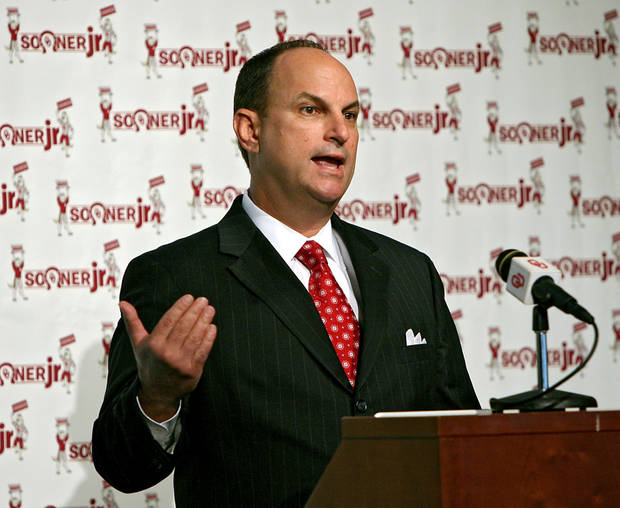 during a press conference at the Stadium Club inside Gaylord Family Oklahoma Memorial Stadium on the University of Oklahoma campus in Norman on Monday, July 18, 2011. Photo by John Clanton, The Oklahoman