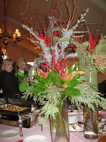 JUST GIRLS....Tall centerpieces decorated the buffet table. (Photo by  Helen Ford Wallace).