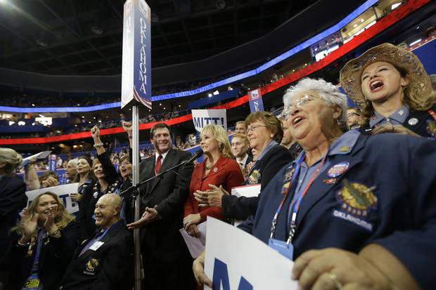 Oklahoma Gov. Mary Fallin and the state delegates react Tuesday as Mitt Romney is nominated as the GOP presidential candidate at the Republican National Convention in Tampa, Fla. AP PHOTO