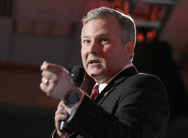 U.S. Rep. Tim Griffin, R-Ark., speaks to a crowd a Republican Party of Arkansas election watch party in Little Rock, Ark., Tuesday, Nov. 6, 2012. Griffin won re-election. (AP Photo/Danny Johnston)