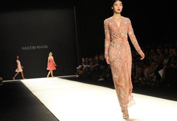 The Naeem Khan Spring, 2013 collection is modeled during Fashion Week, Tuesday, Sept. 11, 2012, in New York. (AP Photo/Louis Lanzano)