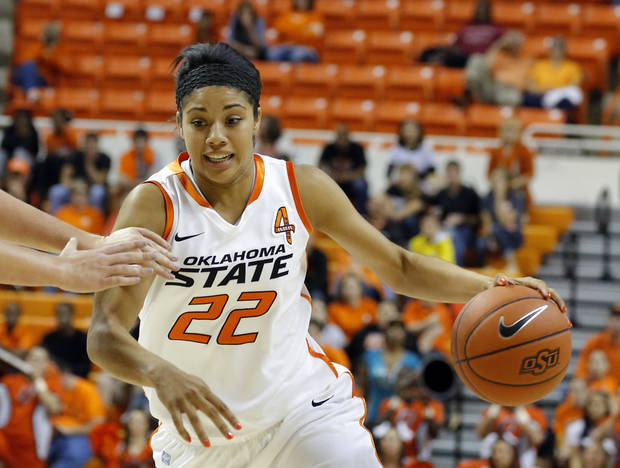 Oklahoma State's Brittney Martin (22) during the women's college basketball game between Oklahoma State and Cal Poly at  Gallagher-Iba Arena in Stillwater, Okla., Friday, Nov. 9, 2012. Photo by Sarah Phipps, The Oklahoman