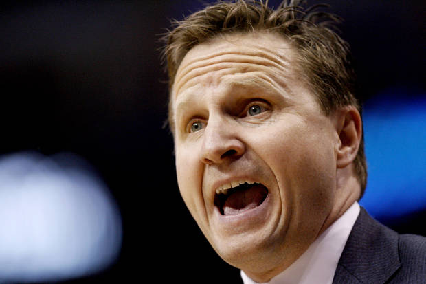 Oklahoma City coach Scott Brooks reacts during Game 3 of the first round in the NBA playoffs between the Oklahoma City Thunder and the Dallas Mavericks at American Airlines Center in Dallas, Thursday, May 3, 2012. Oklahoma City won 95-79. Photo by Bryan Terry, The Oklahoman