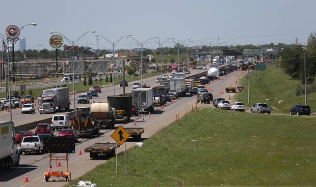 Northbound traffic is backed up at the SE 19th exit Moore on Wednesday. PHOTO BY SARAH PHIPPS, THE OKLAHOMAN