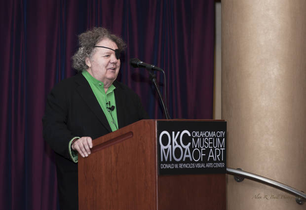 Dale Chihuly speaks at an invitation-only lecture June 24 at the Oklahoma City Museum of Art. Photo provided by the Oklahoma City Museum of Art. <strong></strong>