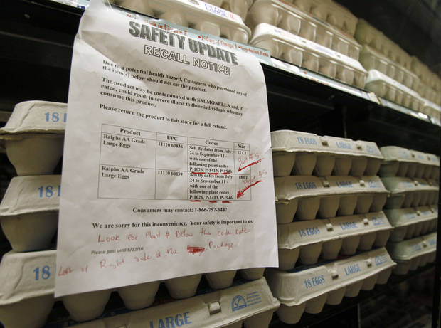 A sign warns customers of the recall of certain lots of eggs that had been previously sold at a supermarket on Thursday in Los Angeles.  AP Photo