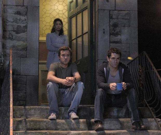 BEING HUMAN -- Episode 102 -- Pictured: (l-r) Meaghan Rath as Sally, Sam Huntington as Josh, Sam Witwer as Aidan -- Photo by: Phillippe Bosse/Syfy