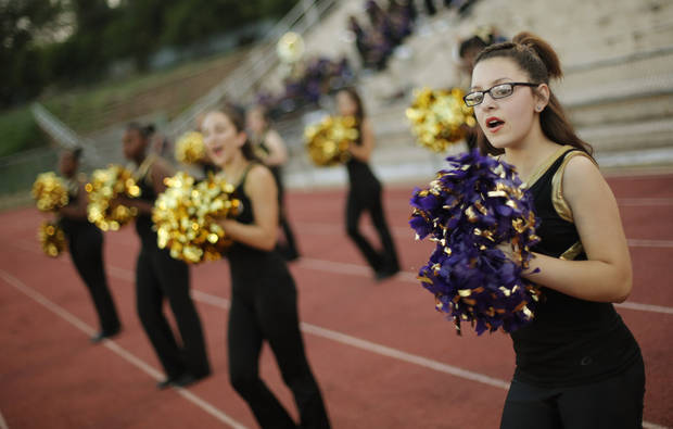 NWC pom pom squad at the Northwest Classen vs. Western Heights high school football game at Taft Stadium Thursday, September 20, 2012. Photo by Doug Hoke, The Oklahoman
