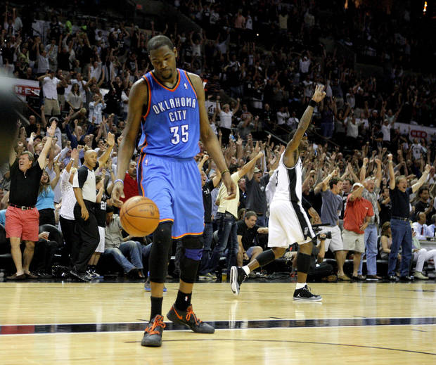 Oklahoma City's Kevin Durant (35) reacts as San Antonio's Stephen Jackson (3) celebrates during Game 1 of the Western Conference Finals between the Oklahoma City Thunder and the San Antonio Spurs in the NBA playoffs at the AT&T Center in San Antonio, Texas, Sunday, May 27, 2012. Photo by Bryan Terry, The Oklahoman