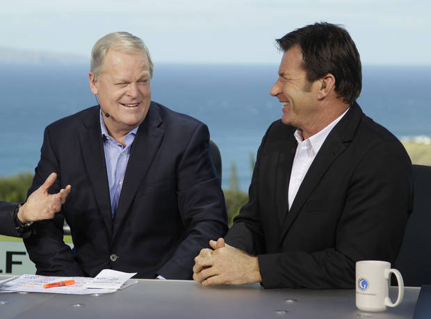 Johnny Miller, left, and Nick Faldo, right, laugh while being introduced at the beginning of a Golf Channel broadcast during the first round of the Hyundai Tournament of Champions PGA Tour golf tournament in Kapalua, Hawaii. Fox Sports is in as the broadcast partner for the U.S. Open starting in 2015. Miller appears to be out. In a surprising announcement Wednesday evening, the U.S. Golf Association said it has signed a 12-year multimedia deal with Fox network and Fox Sports 1 to be the domestic broadcast partner for the U.S. Open and other USGA championships. (AP Photo/Eric Risberg, File)