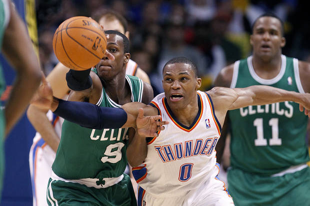 NBA BASKETBALL/OKLAHOMA CITY THUNDER/BOSTON CELTICS  Russell Westbrook steals the ball from Boston's Rajon Rondo during the Thunder - Celtics game Sunday, November 7, 2010 at the Oklahoma City Arena. Photo by Hugh Scott, The Oklahoman ORG XMIT: KOD