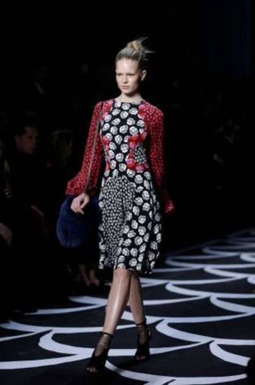 A dress from the Diane von Furstenberg fall 2014 runway show in New York. AP PHOTO