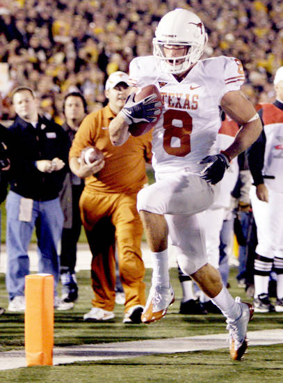 Texas receiver Jordan Shipley had 108 yards and two touchdowns in the Longhorns' win at Missouri on Saturday. AP PHOTO